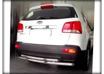 Защита заднего бампера двойная d60/53 для Kia Sorento (2009-2012)