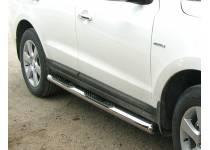 Пороги труба с накладками d76 для Kia Sportage (2008-2010)