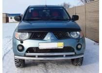 Защита переднего бампера двойная d60/60 для Mitsubishi L200 (2006-2013)