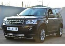 Защита переднего бампера двойная d63/42 для Land Rover Freelander 2 (2013-)