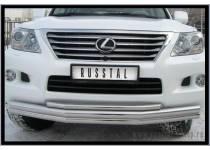 Защита переднего бампера тройная d70/70/42 для Lexus LX570 (2007-2012)
