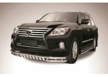 Защита переднего бампера двойная с защитой картера d57/57 для Lexus LX570 (2012-2014)