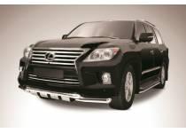 Защита переднего бампера двойная с защитой картера d76/76 для Lexus LX570 (2012-2014)