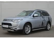 Защита переднего бампера двойная d63/42 для Mitsubishi Outlander (2012-2013)