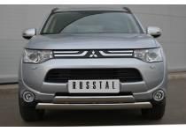 Защита переднего бампера овалы (дуга) d75/42 для Mitsubishi Outlander (2012-2013)