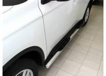 Пороги труба с проступью d76 для Mitsubishi Outlander (2012-2013)