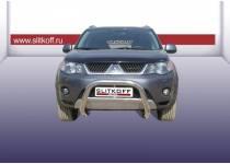 Кенгурятник низкий d76 для Mitsubishi Outlander XL (2007-2009)