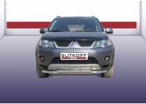Защита переднего бампера двойная d57/42 для Mitsubishi Outlander XL (2007-2009)