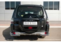 Защита заднего бампера уголки двойные d63/42 для Mitsubishi Pajero 4 (2014-)