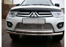 Защита переднего бампера двойная d60/60 для Mitsubishi Pajero Sport (2008-2012)