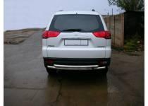 Защита заднего бампера двойная d60/60 для Mitsubishi Pajero Sport (2008-2012)