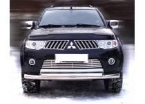Защита переднего бампера двойная d76/60 для Mitsubishi Pajero Sport (2008-2012)