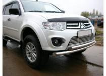 Защита переднего бампера двойная d60/60 для Mitsubishi Pajero Sport (2013-)