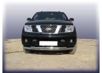 Защита переднего бампера двойная d76/60 для Nissan Navara D40 (2005-)