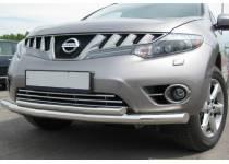 Защита переднего бампера двойная d70/42 для Nissan Murano (2002-2010)