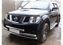 Защита переднего бампера тройная d60 для Nissan Pathfinder (2005-2010)