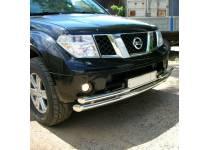 Защита переднего бампера двойная d70/53 для Nissan Pathfinder (2005-2010)