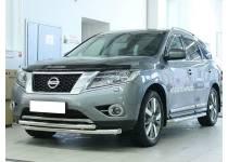 Защита переднего бампера двойная d60/53 для Nissan Pathfinder (2014-)