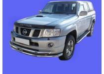Защита переднего бампера двойная d60/60 для Nissan Patrol (2006-2010)