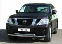 Защита переднего бампера двойная овальная d76/63 для Nissan Patrol (2010-2013)