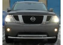 Защита переднего бампера двойная d76/60 для Nissan Patrol (2014-)