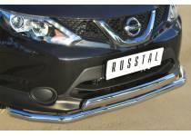 Защита переднего бампера двойная d75/63 для Nissan Qashqai (2014-)