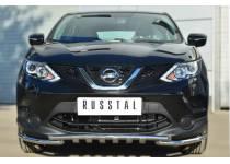 Защита переднего бампера с доп. элементами d42/42 для Nissan Qashqai (2014-)