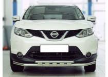Защита переднего бампера двойная с доп.накладками d53/43 для Nissan Qashqai (2014-)