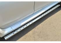 Пороги труба с накладками d75/42 для Nissan Terrano (2014-)
