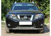 Защита переднего бампера двойная d60/53 для Nissan Terrano (2014-)
