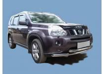 Защита переднего бампера двойная d60/60 для Nissan X-Trail (2007-2011)