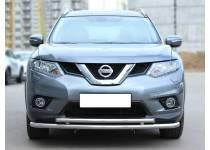 Защита переднего бампера двойная d53/43 для Nissan X-Trail (2015-)