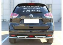 Защита заднего бампера двойная d53/43 для Nissan X-Trail (2015-)