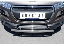 Защита переднего бампера двойная d75/42 (овалы) для Peugeot 4008 (2012-)