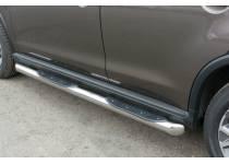 Пороги труба с накладками d76 (вариант 1) для Peugeot 4008 (2012-)