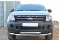 Защита переднего бампера двойная d76/63 для Ford Ranger T6 (2012-)