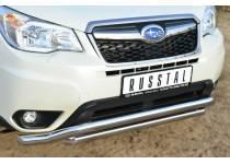Защита переднего бампера двойная d63/63 (волна) для Subaru Forester (2013-)