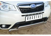 Защита переднего бампера двойная d75/42 (овалы) для Subaru Forester (2013-)