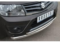 Защита переднего бампера двойная d63/42 для Suzuki Grand Vitara (5 дв.) (2012-2014)