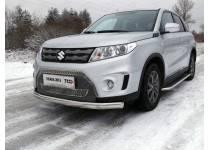 Защита передняя нижняя (овальная) 75х42 мм для Suzuki Grand Vitara (2015-)