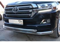 Защита переднего бампера двойная d76/60 для Toyota Land Cruiser 200 (2016-)