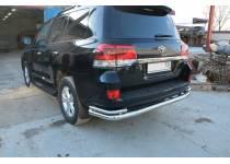 Защита заднего бампера увеличенная угловая d76/42 для Toyota Land Cruiser 200 (2016-)