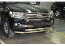 Защита переднего бампера d76/75x42 (верхняя овал) для Toyota Land Cruiser 200 (2016-)