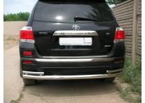 Защита заднего бампера двойная d70/42 для Toyota Highlander (2010-2013)