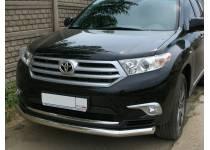 Защита переднего бампера d60 для Toyota Highlander (2010-2013)