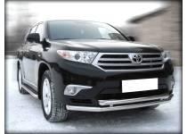Защита переднего бампера двойная d60/53 для Toyota Highlander (2010-2013)