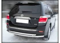 Защита заднего бампера двойная d60/53 для Toyota Highlander (2010-2013)
