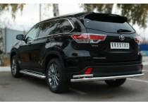 Защита заднего бампера двойная полноразмерная d63/42 для Toyota Highlander (2014-)