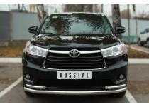 Защита переднего бампера двойная d63/42 для Toyota Highlander (2014-)