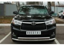 Защита переднего бампера двойная d63/63 для Toyota Highlander (2014-)